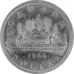 1 Dollar Canadien Trader des fourrures et Indien en canot 18,66g d'Argent fin - 1966