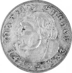 2 Reichsmark Martin Luther 5g d'argen - 1933