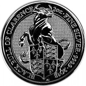 Queens Beasts Black Bull  2oz Silver - 2018