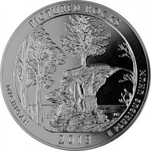 America the Beautiful -  Michigan Pictured Rocks 5oz Silver - 2018