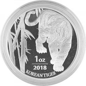 Tigre Corée du Sud 1oz d'argent - 2018