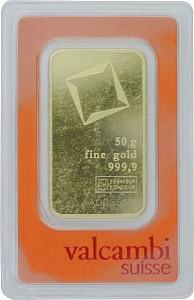 Lingot 50g d'or fin -  VALCAMBI