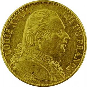 20 Francs français Louis XVIII uniforme 5,81g d'or fin
