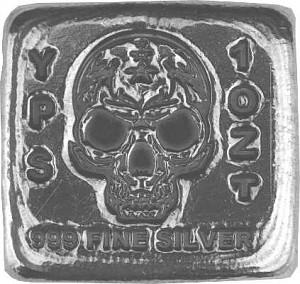 'Totenkopf' 3D-Barren 1oz Silber, handgegossen