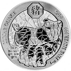 Ruanda Lunar Schwein 1oz Silber - 2019