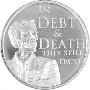In Debt and Death They Still Trust USA Mini Mintage 1oz d'argent fin – 2017