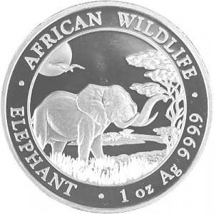 Somalia Elephant, African Wildlife 1oz d'argent fin - 2019