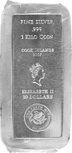 Cook Islands Münzbarren 1kg Silber - B-Ware