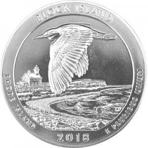 America the Beautiful - Rhode Island Block Island National Wildlife 5oz Silber - 2018