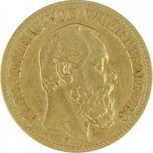 10 Mark Karl König von Württemberg 3,58g Gold