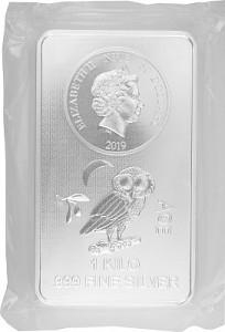 Niue Athener Eule Münzbarren 1kg Silber - 2019