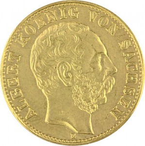 10 Mark allemand Albert Roi de la Saxe 3,58g d'or fin