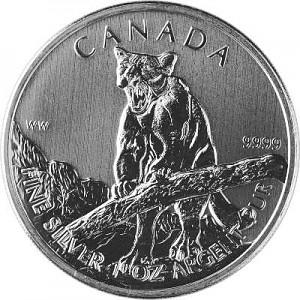 Canadien Wildlife Puma 1oz d'argent fin - deuxième choix