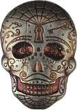 """Skull - Day of the Dead - Spiderweb"" 3D-Barren 2oz Silber"