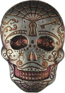 """Skull - Day of the Dead - Spiderweb"" 3D-Barren 2oz Silber"