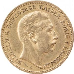 20 Mark allemand Wilhelm II de Prusse 7,16g d'or fin