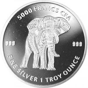 Tschad Mandala Elefant 1oz Silber - 2019