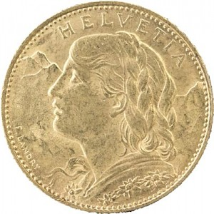 10 Francs suisse Demi-Vreneli 2,9g d'or fin