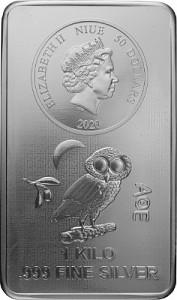 Niue Athener Eule Münzbarren 1kg Silber - 2020