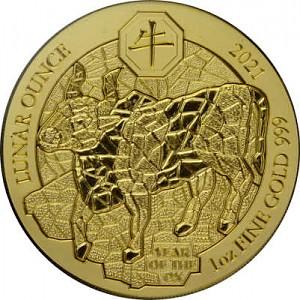 Lunar Ochse Ruanda 1 Unze Gold - 2021