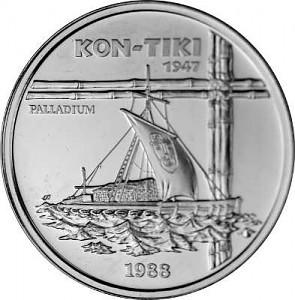 50 Tala Samoa Schiff 'Kon-Tiki' 1oz Palladium 1990 diff.
