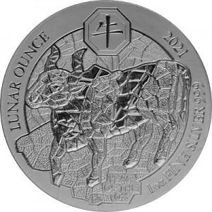 Ruanda Lunar Ochse 1 Unze Silber - 2021 (regelbesteuert)