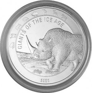 Giganten der Eiszeit - Wollnashorn 1 Unze Silber – 2021