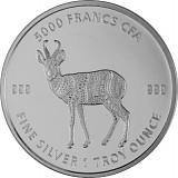 Tschad Mandala Antilope 1 Unze Silber - 2021