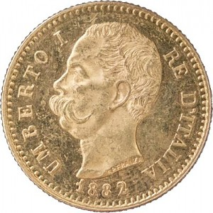 20 Lires italiennes Umberto I 5,81g d'or fin