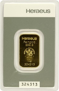 Lingot 10g d'or fin - Heraeus