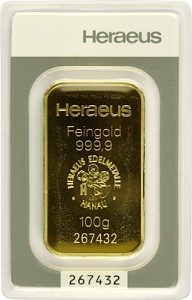 Goldbarren 100g - Heraeus