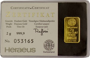 Gold Bar 2g - Heraeus Kinebar