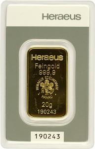 Lingot 20g d'or fin - Heraeus