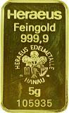Goldbarren 5g - verschiedene Hersteller
