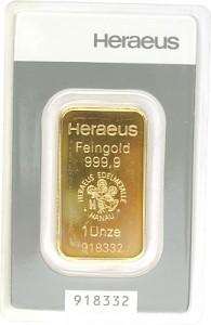 Goldbarren 1oz - Heraeus Kinebar