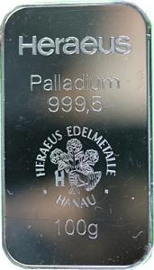 Lingot 100g de palladium (TVA normale)