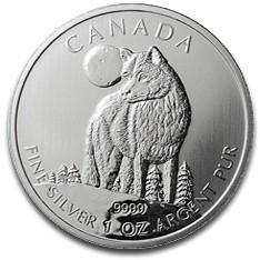 Sammlerstücke: Wildlife Serie aus Kanada, Wolf 1 oz Silber 2011